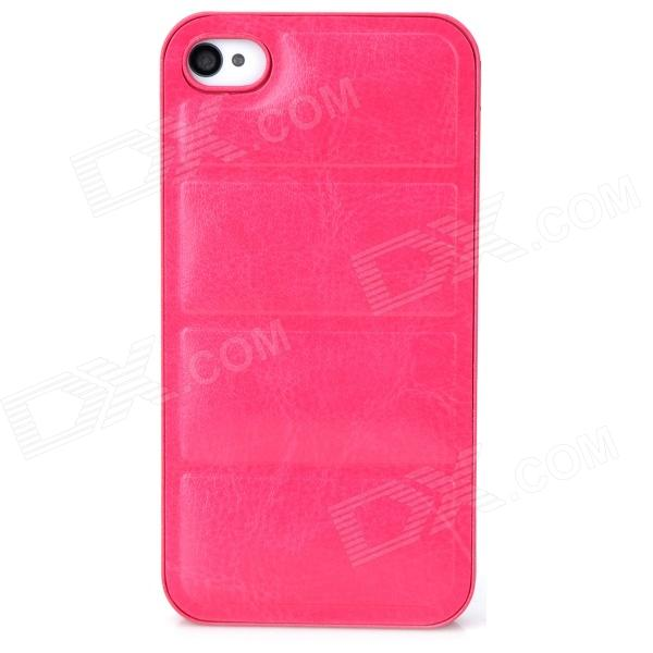 Protective PU Leather + PC Back Case for Iphone 4 / 4s - Deep Pink silk style protective pu leather plastic case for iphone 4 4s deep pink