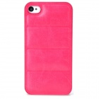 Protective PU Leather + PC Back Case for Iphone 4 / 4s - Deep Pink
