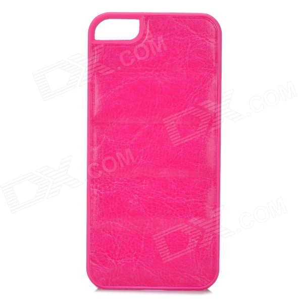 Protective PU Leather + PC Back Case for Iphone 5 / 5s - Deep Pink ipega i5056 waterproof protective case for iphone 5 5s 5c pink