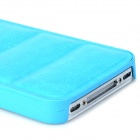 Protective PU Leather + PC Back Case for Iphone 4 / 4s - Sky Blue