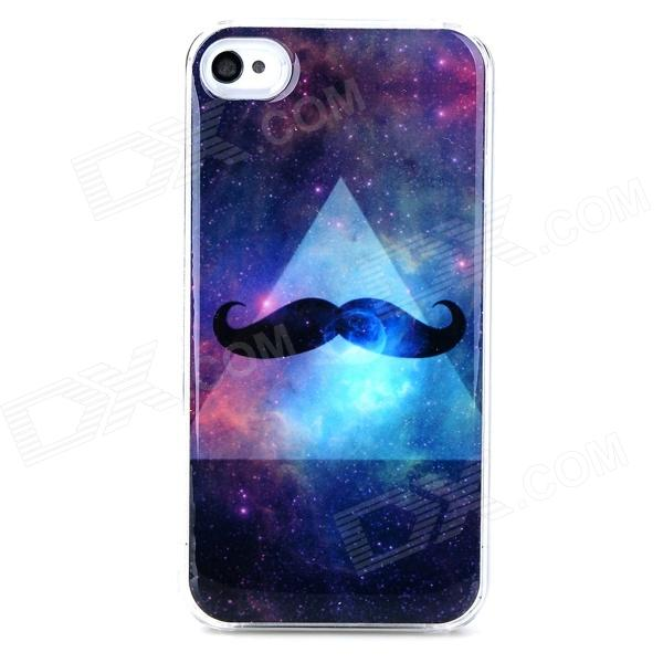 Starry Sky Mustache Style Protective Plastic + Epoxy Back Case for Iphone 4 / 4s - Black + Blue nillkin protective matte plastic back case w screen protector for iphone 6 4 7 golden