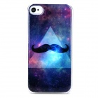 Starry Sky Mustache Style Protective Plastic + Epoxy Back Case for Iphone 4 / 4s - Black + Blue