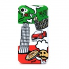 Leaning Tower of Pisa Pattern Protective Plastic Back Case for Iphone 4 / 4s - White + Red + Green