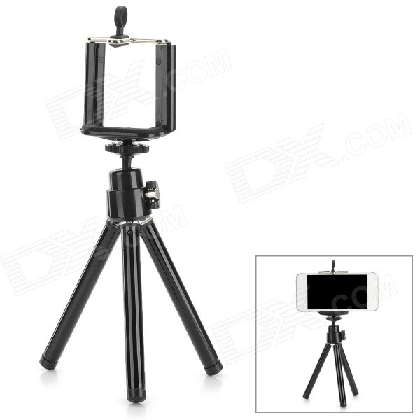 ABS + Aluminum Alloy Adjustable Holder Clip w/ TrIpod for Samsung / HTC / Iphone + More - Black