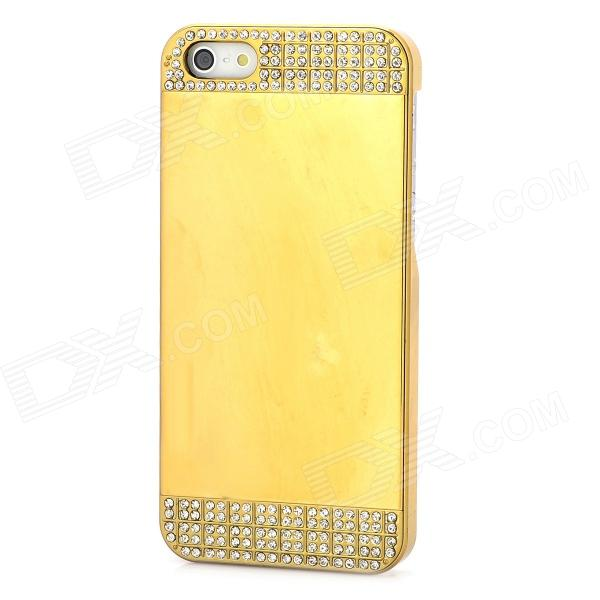 Mirror Design Protective Rhinestone Plastic Back Case for Iphone 5 / 5s - Golden mirror surface rhonestone protective plastic case for iphone 5 5s