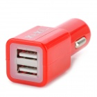 Dual USB 5V 2100mA Car Cigarette Lighter Charger w/ Cable for LG Nexus 5 - Black + Red (12~24V)