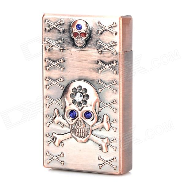 326 Stylish Punk Crystal-inlaid Skull Relievo Butane Jet Lighter - Brass