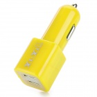 Dual USB 5V 2100mA Car Cigarette Lighter Charger w/ Cable for LG Nexus 5 - Yellow (12~24V)