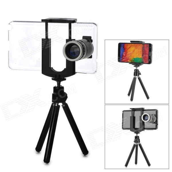 8X Telescope w/ Back Case / Tripod / Holder Set for Samsung Note 3 / N9000 - Silver + Black