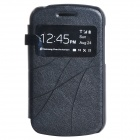 Classic Flip-open Protective PU Leather Case w/ Visual Window for BlackBerry Q10 - Black