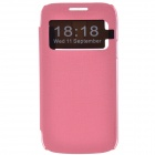 TEMEI Protective PU Leather + Plastic Case w/ Visual Window for Samsung Galaxy S4 Mini i9190 - Pink