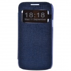 TEMEI Protective PU Leather + Plastic Case w/ Visual Window for Samsung Galaxy S4 Mini - Deep Blue