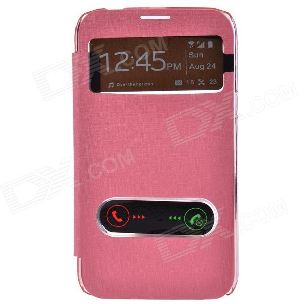 TEMEI PU Leather Case Cover w/ Visual Window / Slide to Unlock for Samsung Galaxy Note 2 - Pink temei protective pu leather tpu case stand w visual window for samsung galaxy note 3 white