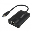 CY U3-136 Super Speed 5Gbps 3-Port USB 3.0 Hub w/ 1000M Gigabit Network Ethernet Adapter - Black