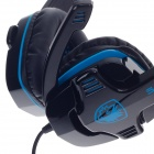 SADES SA-708 Stylish PC / Notebook Primary Gaming Headset w/ Microphone - Black + Blue (3.5mm Plug)
