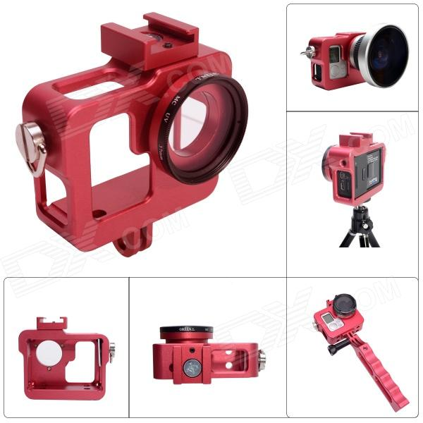 Fat Cat CNC Aluminum Alloy Extension Ultra Heat-Sink Case w/ 37mm MCUV Lens for Gopro Hero 4/ 3+/3 -Red