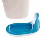 EZWIN Creative Automatic Toothpaste Dispenser w/ Toothbrush Holder / Tumbler - White + Blue