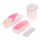 EZWIN Creative Automatic Toothpaste Dispenser w/ Toothbrush Holder / Tumbler - White + Pink