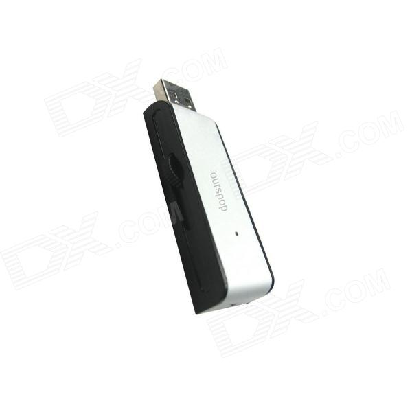 Ourspop U212 Hot Push Pull Aluminium Alloy USB 2.0 Flash Driver Disk - Black + Silver (64GB)