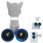 Universal Fisheye + Wide Angle + Macro Lens for Mobile Phone - Silver + Blue + Black