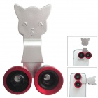 Universal Fisheye + Wide Angle + Macro Lens for Mobile Phone - Silver + Red + Black