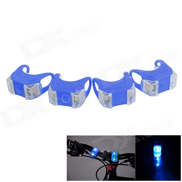 Bicycle 2-LED Blue Front / Taillight Warning Safety Light - Blue (4 PCS / 2 x 2032)