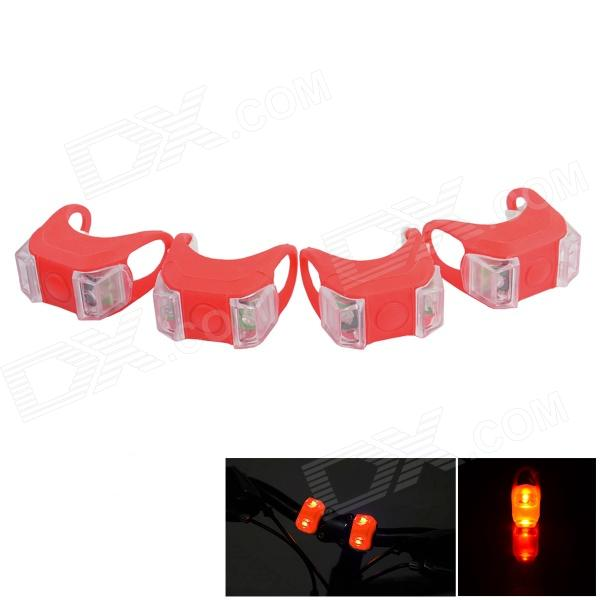 Bicycle LED Red Front / Taillight Warning Light Safety Light - Red (4 PCS / 2 x 2032)