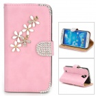 PUDINI WB-ZHS4 Flower Pattern PU Flip-Open Case w/ Stand / Card Slots - Pink