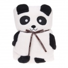 Cute Panda Style Dual-use Ultra-soft Short Floss Blanket Pillow - Off-white + Black