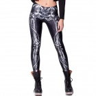 Elonbo Y1A4 Human Skeleton Style Digital Painting Tight Leggings - Black + White (Free Size)