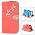 PUDINI Protective Flip-open PU Leather Holder Case for Samsung i9500 - Watermelon Red