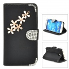 PUDINI Protective Flip-open Rhinestone PU Leather Holder Case for Samsung i9500 - Black