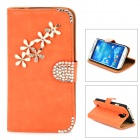 PUDINI Protective Flip-open PU Leather Holder Case for Samsung Galaxy S4 i9500 - Saffron