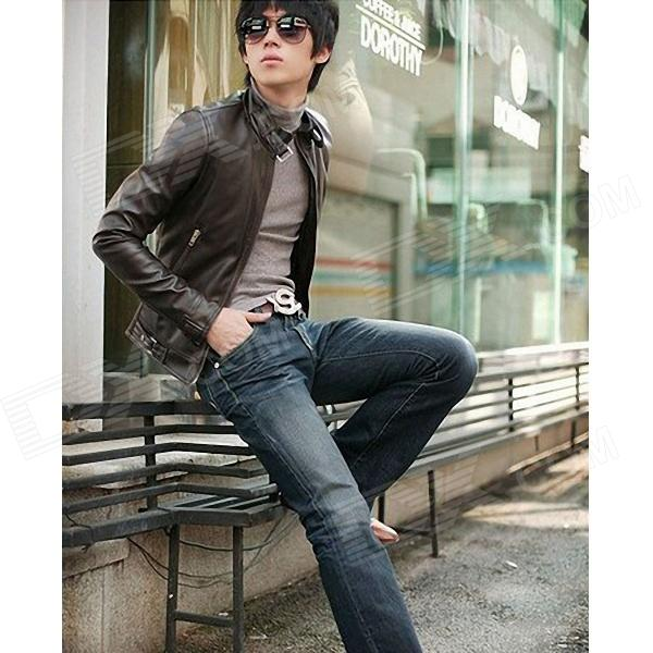 Fashionable Men's Slim Fit PU Leather Jacket - Brown (Size-L)