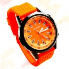 BAISDN 6028 Stylish Silicone Band Big Dial Quartz Wrist Watch - Black + Orange (1 x SR626SW)