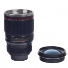 Creative Stainless Steel Simulation Dummy DSLR Lenses Thermos Mug Cup w/ Cup Lid - Black  (400ml)