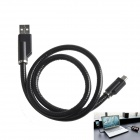 USB 2.0 Male to Micro USB Male Data Sync / Charging Cable Flexible Holder for Samsung + More - Black