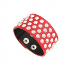 Punk Style Metallic Rivets PU Leather Bracelet - Red