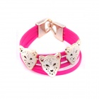 Fluorescent Leopard Head Style PU Leather Bracelet - Deep Pink + Golden