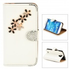 PUDINI WB-ZHS4 Protective Flip-open PU Leather Holder Case for Samsung Galaxy S4 i9500 - White