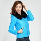 Fashionable Women's Slim Small Cotton-padded Jacket w/ Wool Collar - Blue (Size-XL)