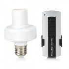 E27 Remote Control Lamp Base Bulb Holder - White + Black