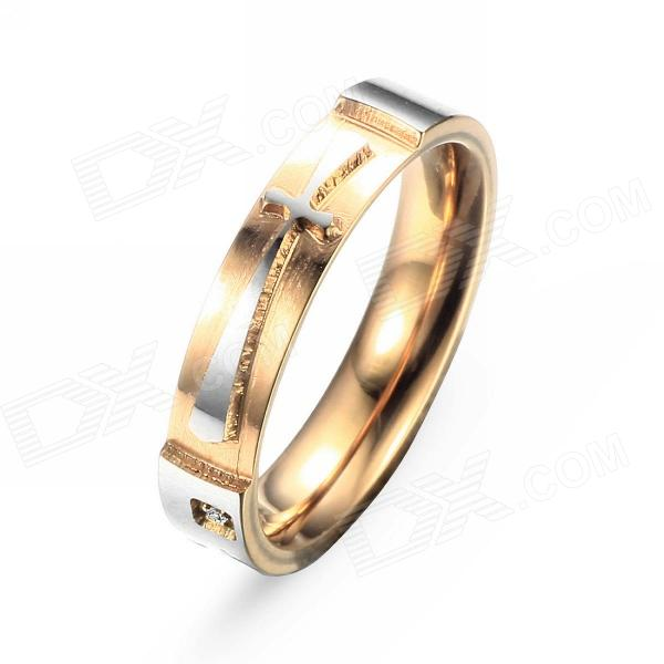 EQute RSSC8WS7 316L Stainless Steel Cross Love Woman's Ring - Golden + Silver (Size 7) equte bssm5c3 316l stainless steel golden link bracelet 9