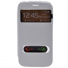TEMEI PU Leather Case w/ Visual Window / Slide to Unlock for Samsung Galaxy Grand Duos -Silver White