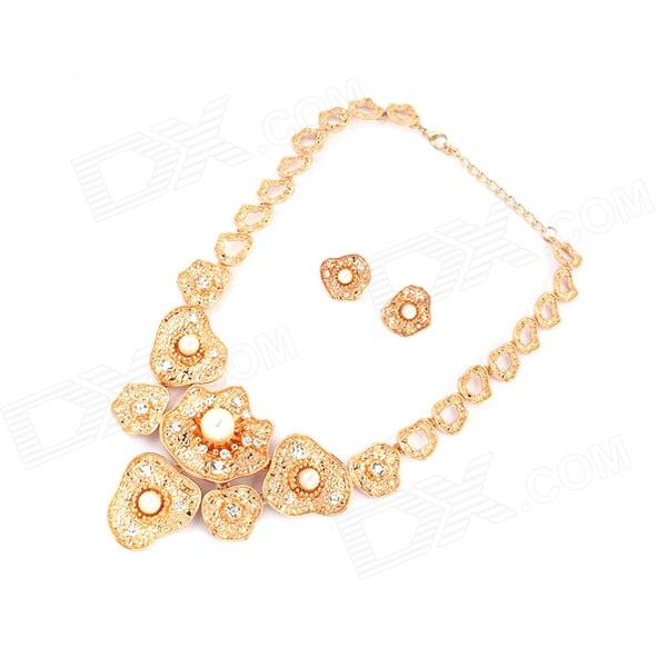 Fashionable Flowers Pattern Necklace + Earrings Set - Golden + White gorgeous 60cm length golden thick braided wheat chain necklace for men