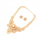 Fashionable Flowers Pattern Necklace + Earrings Set - Golden + White