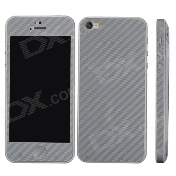 Elonbo F91Y Decorative Protective Carbon Fiber Cover Skin Stickers Set for Iphone 5 - Silver Grey kajsa carbon fiber aluminum coated pc back cover for iphone 7 plus 5 5 grey