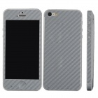 Elonbo F91Y Decorative Protective Carbon Fiber Cover Skin Stickers Set for Iphone 5 - Silver Grey