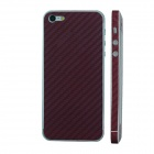 Elonbo F91Z Decorative Protective Carbon Fiber Cover Skin Stickers Set for Iphone 5 - Purplish Red