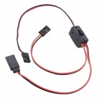 RC Servo Switch / Dual Steering Gear Switch w/ Silicone Cable for JR / Futaba Servo Plug - Red